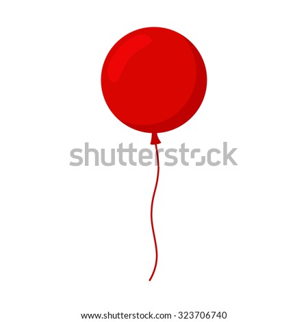 Balloon isolated icon on white background. Big round red balloon with long ribbon. Decoration for holidays and birthday party. Flat style vector illustration.