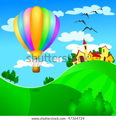 Balloon landing on the campaign, vector