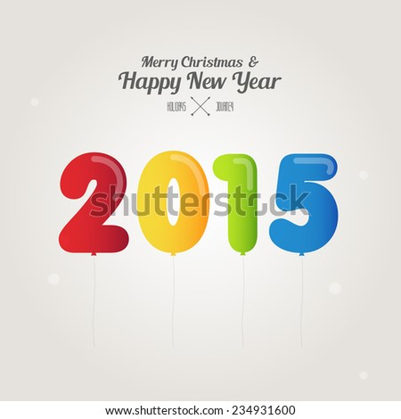 balloon number on merry christmas and happy new year 2015 concept vector