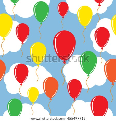 Balloon over sky. Seamless vector background.