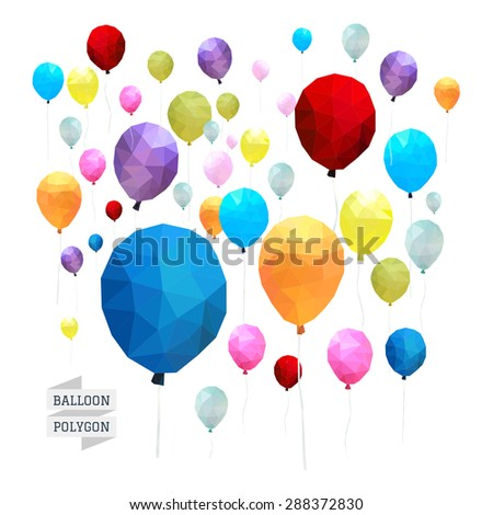 Balloon polygon vector - stock vector