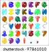 Balloon themed Alphabet (including numbers and some punctuation). - stock vector