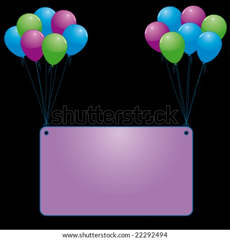balloons and banner - stock vector
