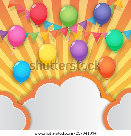 balloons cloud bunting and garland decoration on sunny sky background. vector. - stock vector