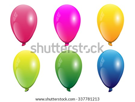 balloons 6 color red pink yellow green blue  light green isolated ,vector illustration