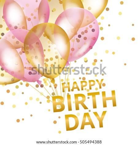 Gold Sparkles Background Happy Birthday Happy Vector – Happy Birthday Text Card