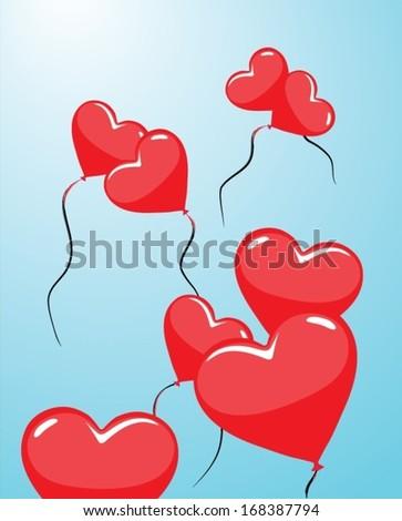 balloons heart - stock vector