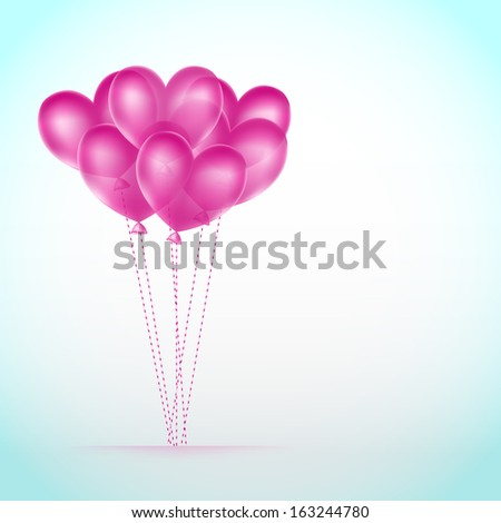 balloons hearts background - stock vector