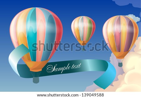 balloons in the sky. Vector illustration - stock vector