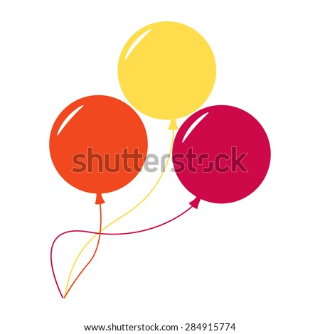 Balloons isolated icon on white background. Three colorful balloons. Flat style vector illustration.  - stock vector