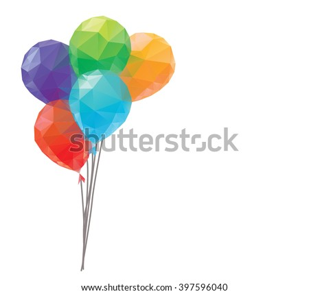 balloons on white background. Polygonal vector.