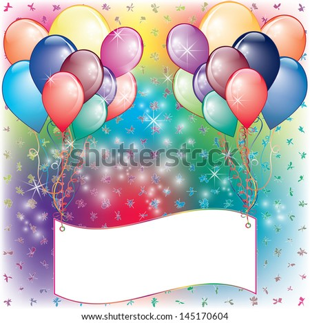 Balloons Party Invitation card with white space - stock vector