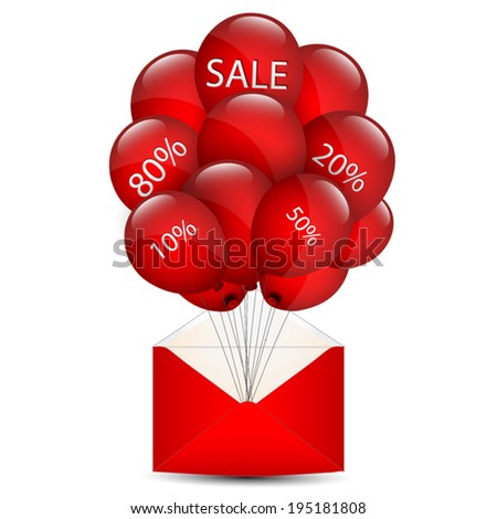 Balloons sale in an envelope - stock vector