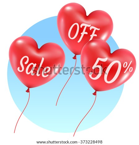 balloons style hearts sale signs illustration on blue sky background  - stock vector
