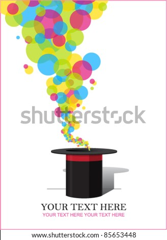 Balloons taking off from magic hat. Vector illustration. Place for your text.