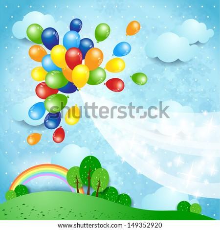 Balloons, vector - stock vector