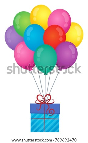 Balloons with gift theme image 1 - eps10 vector illustration.
