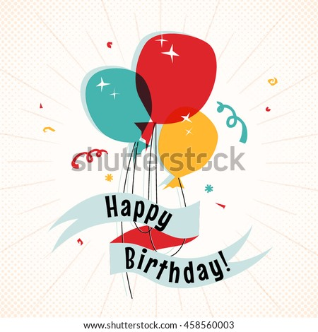 Balloons with happy birthday greeting vector illustration