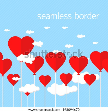 Balloons with heart shaped clouds on blue striped seamless background. vector illustration - stock vector