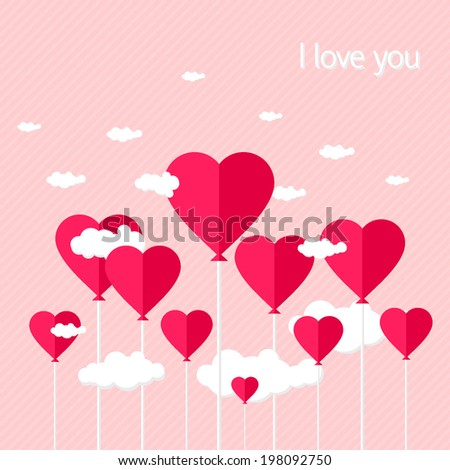 Balloons with heart shaped clouds on pink striped background. vector illustration - stock vector