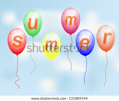 Balloons with the word Summer - stock vector