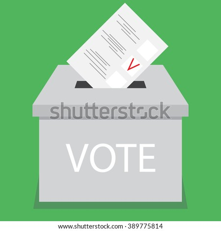 Ballot box design flat vote. Vote and ballot, election and voting box, voting booth, urn and suggestion box, ballot paper, election choice, vote government. Vector abstract flat design illustration - stock vector