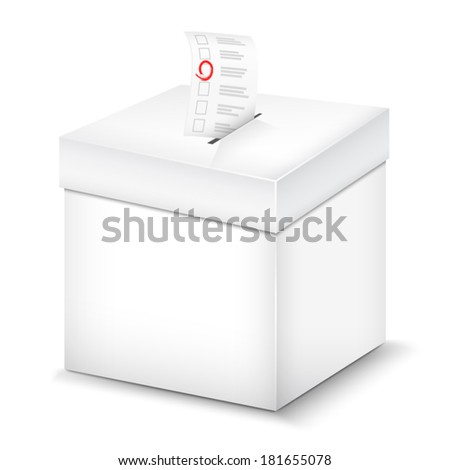Ballot Box Isolated On White. Vector Illustration. - stock vector