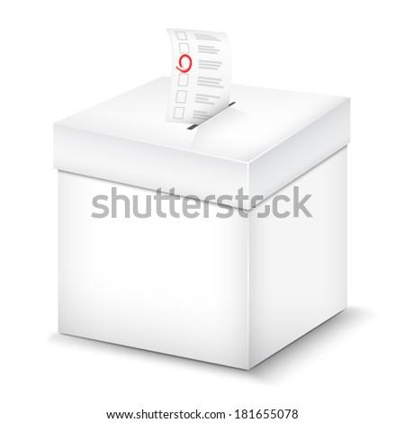 Ballot Box Isolated On White. Vector Illustration. - stock vector