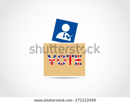 Ballot Box UK Britain Text - stock vector