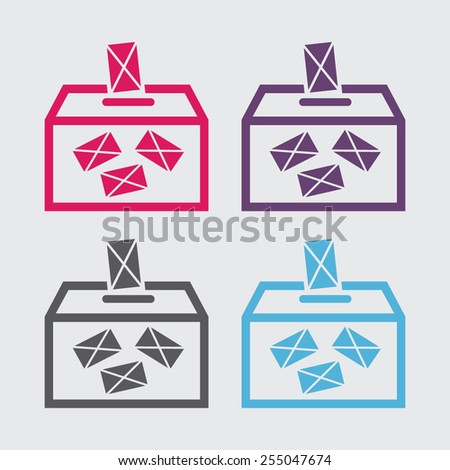 Ballot box vote,vector icon. - stock vector