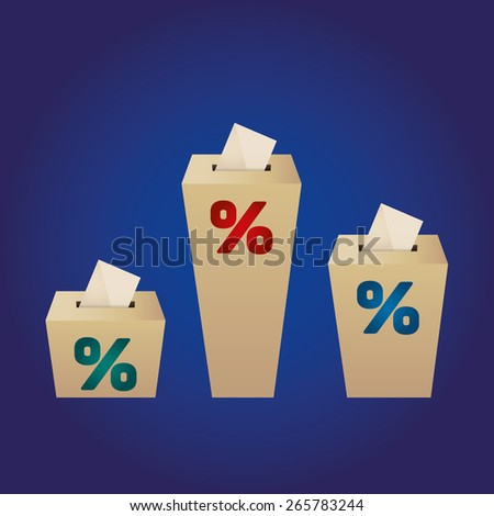 Ballot Boxes for an election. Percent Boxes on the blue background  - stock vector