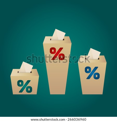 Ballot Boxes for an election. Percent Boxes on the green background - stock vector