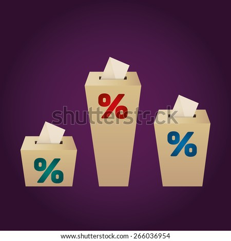 Ballot Boxes for an election. Percent Boxes on the purple background - stock vector
