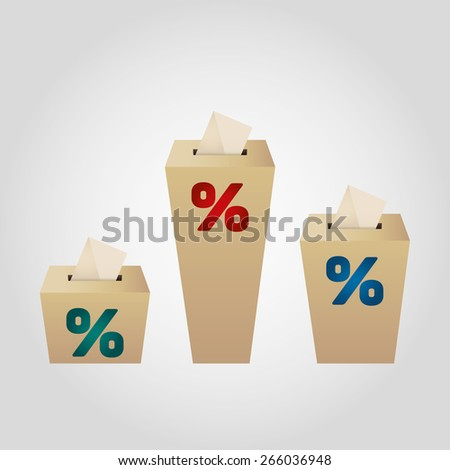 Ballot Boxes for an election. Percent Boxes on the white background - stock vector