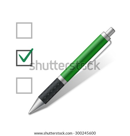 Ballpoint green pen and a check box. Vector illustration - stock vector
