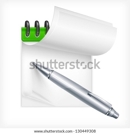 Ballpoint metallic pen and notebook isolated, vector illustration. Vector Illustration. - stock vector