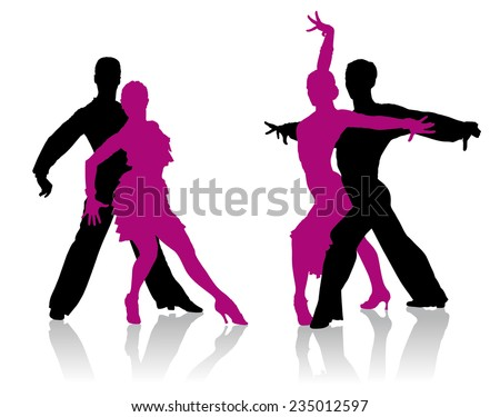 Ballroom dancers detailed silhouettes
