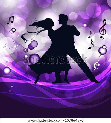 Ballroom dancers. This illustration is an EPS10 file and contains several transparencies blend, its easily editable. Vector illustration scale to any size. - stock vector