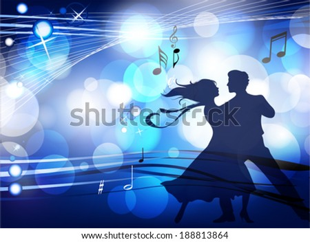 Ballroom dancers. This illustration is an EPS10 file and contains several transparencies blend, its easily editable in separate layers. Vector illustration scale to any size. - stock vector