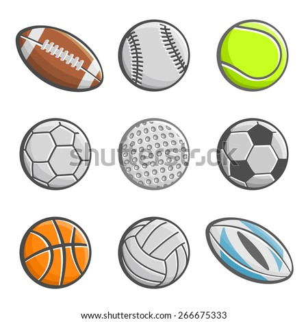 Balls American football pigskin with lacing, baseball, lawn tennis, handball, golf, football soccer, basketball, volleyball, rugby ball. Sports equipment Ball isolated closeup on white background