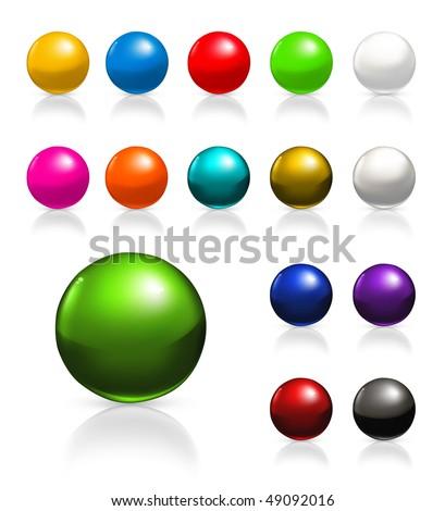 Balls icon set, vector - stock vector