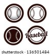 balls icons of baseball over white background - stock photo