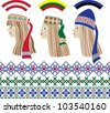 Baltic girls in national headdresses and patterns - stock photo