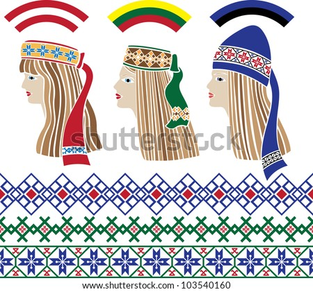 Baltic girls in national headdresses and patterns - stock vector