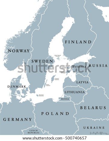 Baltic Sea area countries political map with national borders. Nations and states of Scandinavia. English labeling and scaling. Gray illustration on white background.