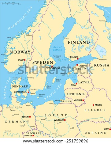 Baltic sea area political map capitals stock vector 251759896 baltic sea area political map with capitals national borders important cities rivers and sciox Image collections