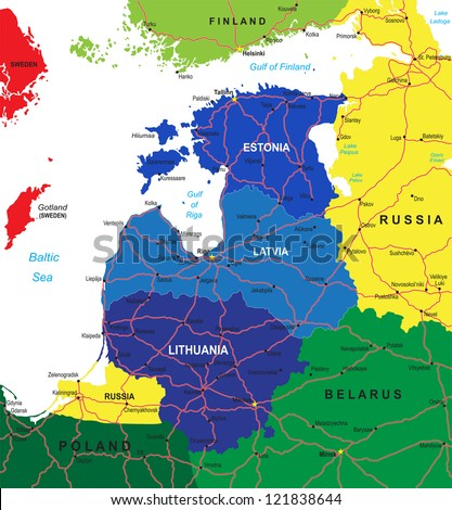 Baltic states map - stock vector