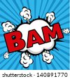 bam comics icon over blue background vector illustration - stock vector