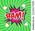 BAM! wording comic speech bubble in pop art style on burst background - stock