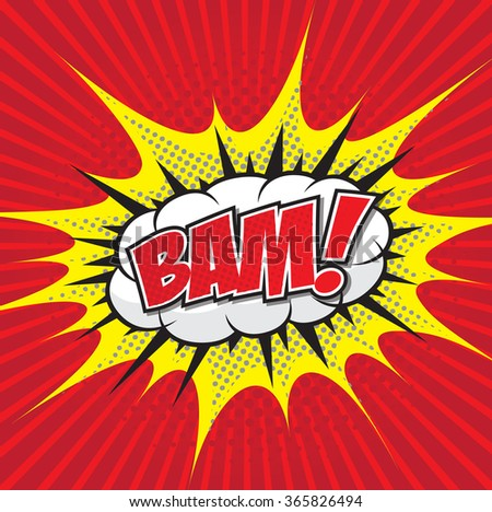 BAM! wording sound effect set design for comic background, comic strip - stock vector